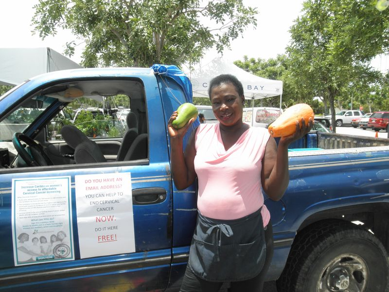 Caribbean Trained outreach worker in the Cayman Islands promoting the cervica cancer petition.